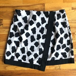 MISGUIDED Faux Wrap Skirt Leapord Print